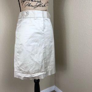 J. Crew Ivory Tab Waist Cotton Skirt 8